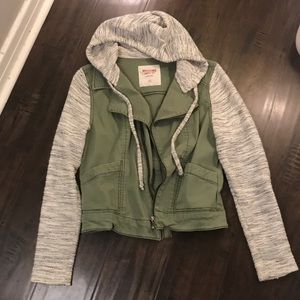 Hooded Army Green Sweater Jacket